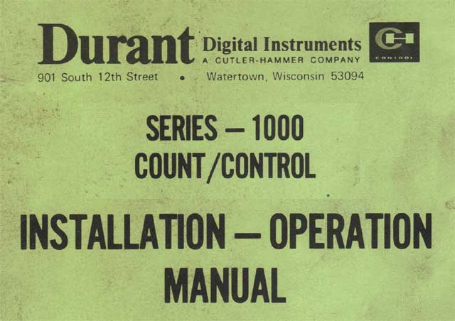 Durant 1000 Series Counters - Electrical And Electronic