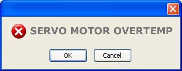 what does servo motor overtemp mean